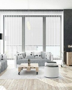 Black and white colored Living Room with floor to ceiling windows